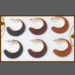 Wood Hoop Earrings 3 Color Choices
